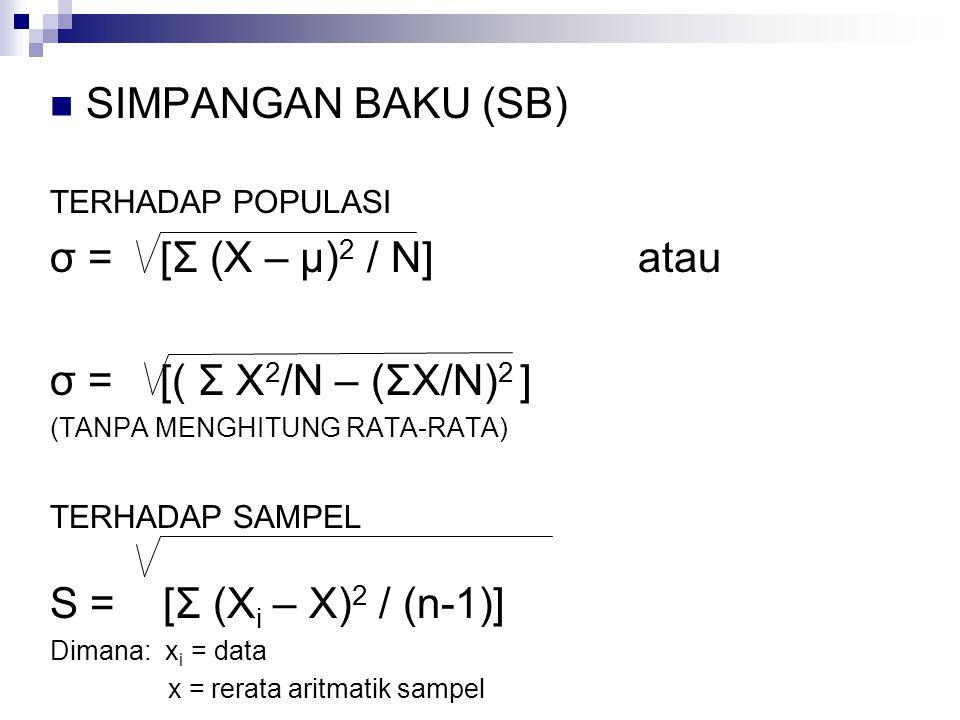 SIMPANGAN BAKU (SB) σ = [Σ (X – μ)2 / N] atau